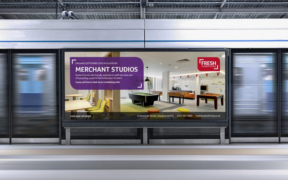 Fresh Student Living train station banner advertising Merchant Studios.