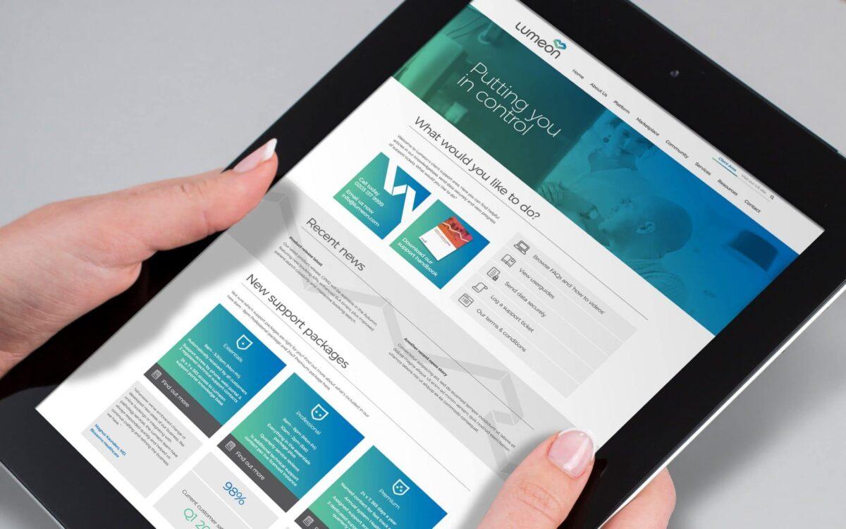 Lumen website on smart tablet in portrait orientation.