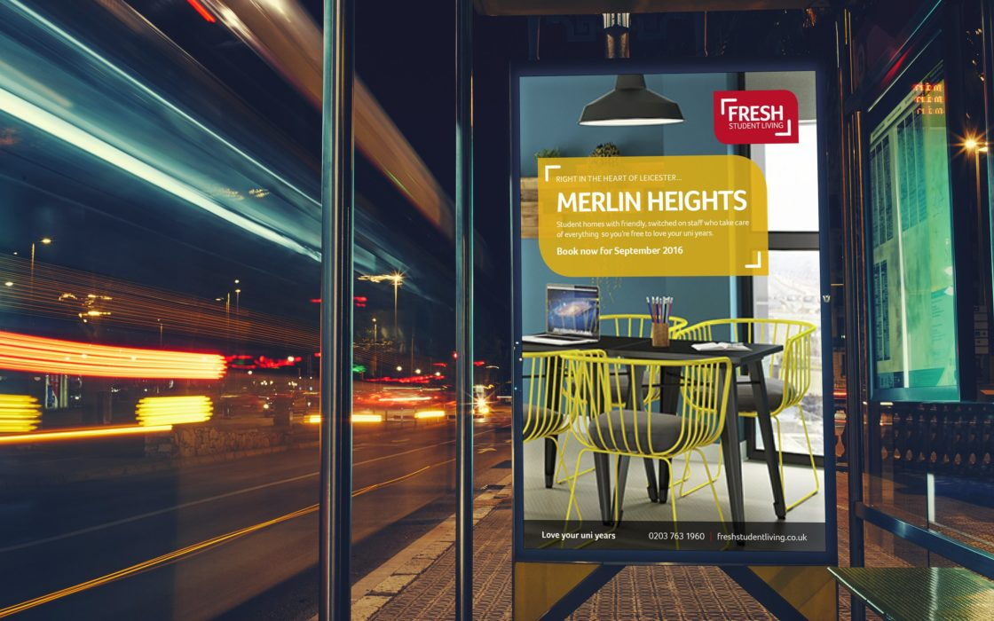 Fresh Student Living bus stop poster advertising Merlin Heights.