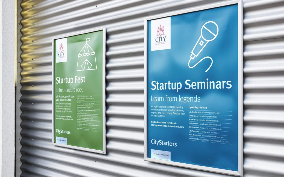 City Starters Startup Fest and Seminars posters on a wall.