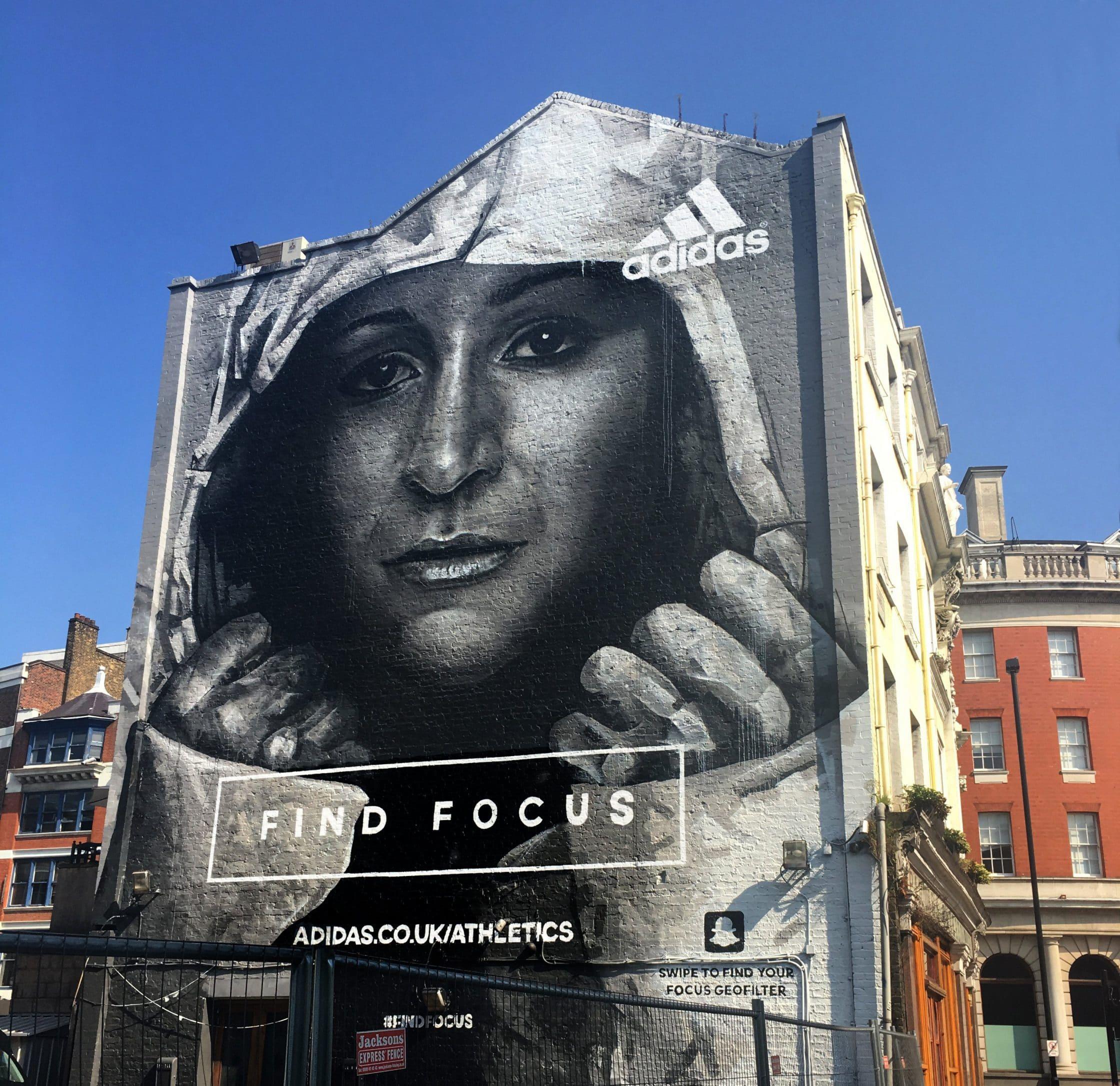 Building art advertising Adidas 'Find Focus'.