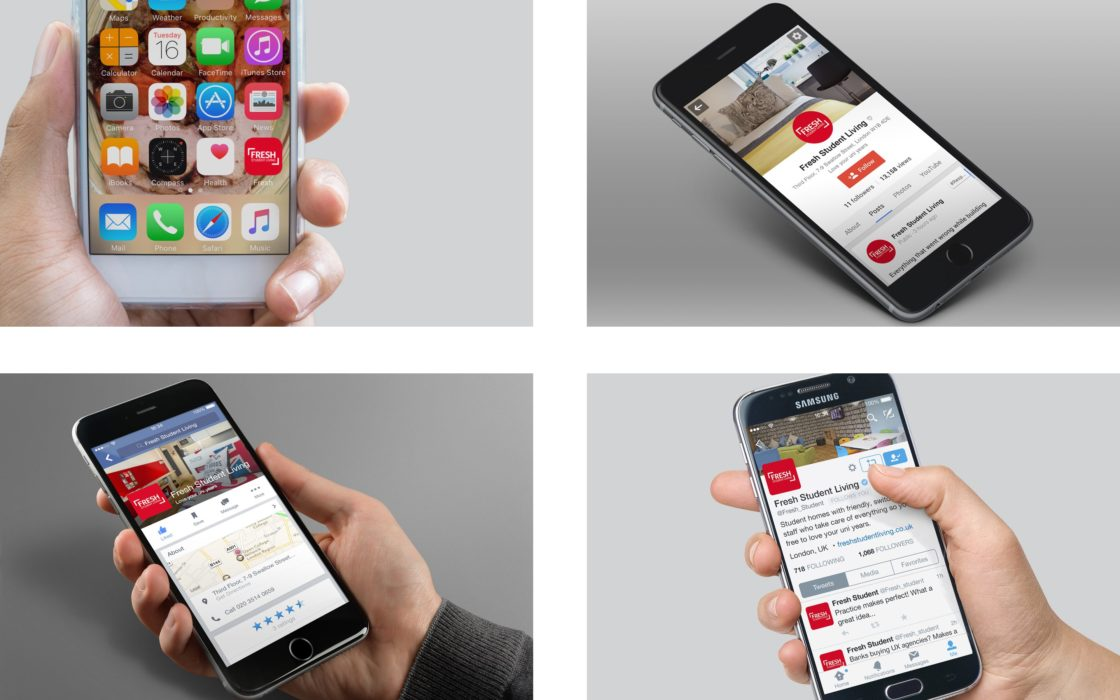 Four images of smart phones showing Fresh Student Living app, and social media profiles.