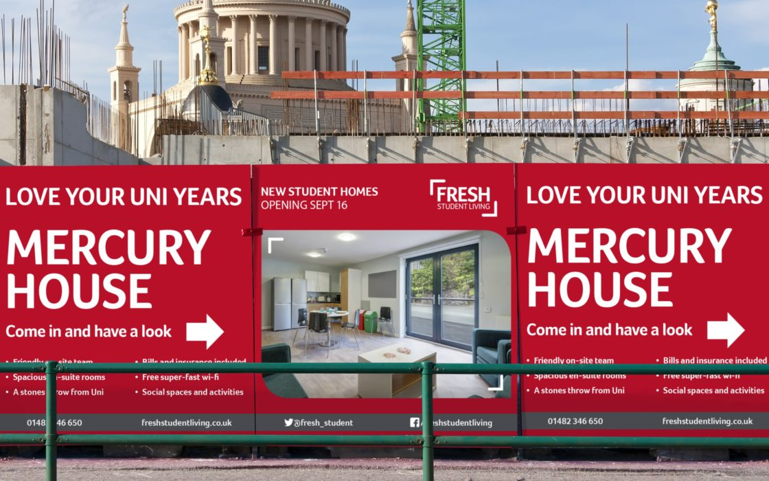 Wall outside building site showing Fresh Student Living's Mercury House.