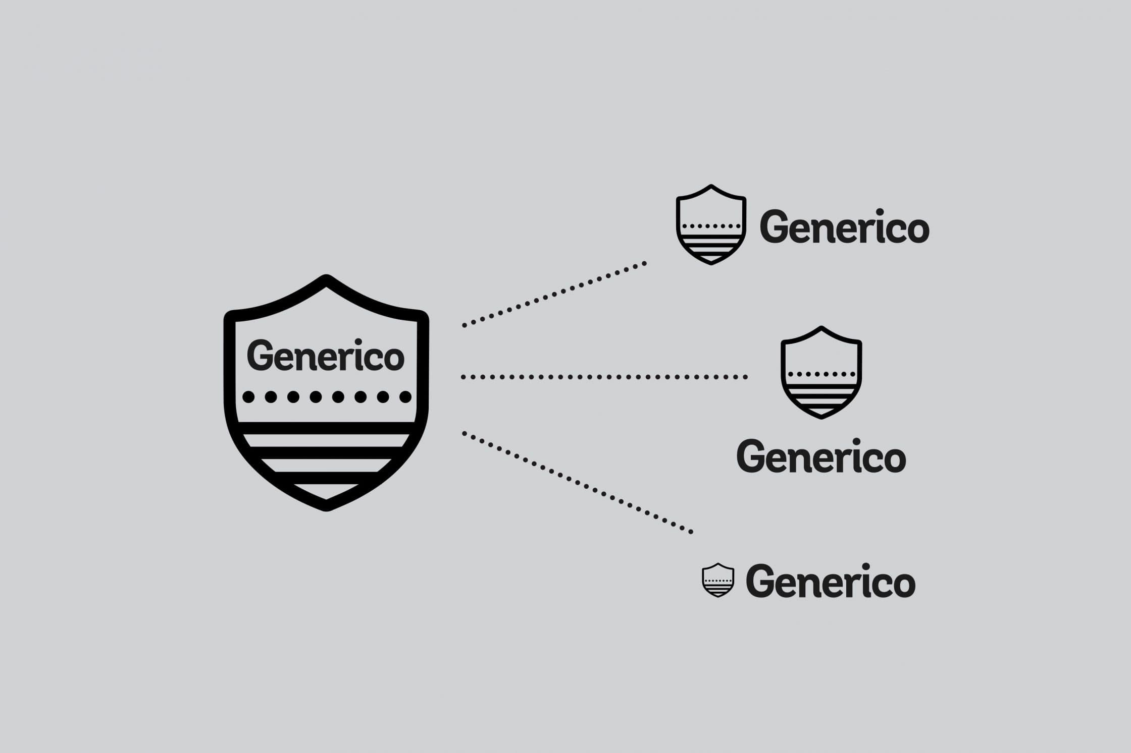 Testing the Generico logo in different arrangements.