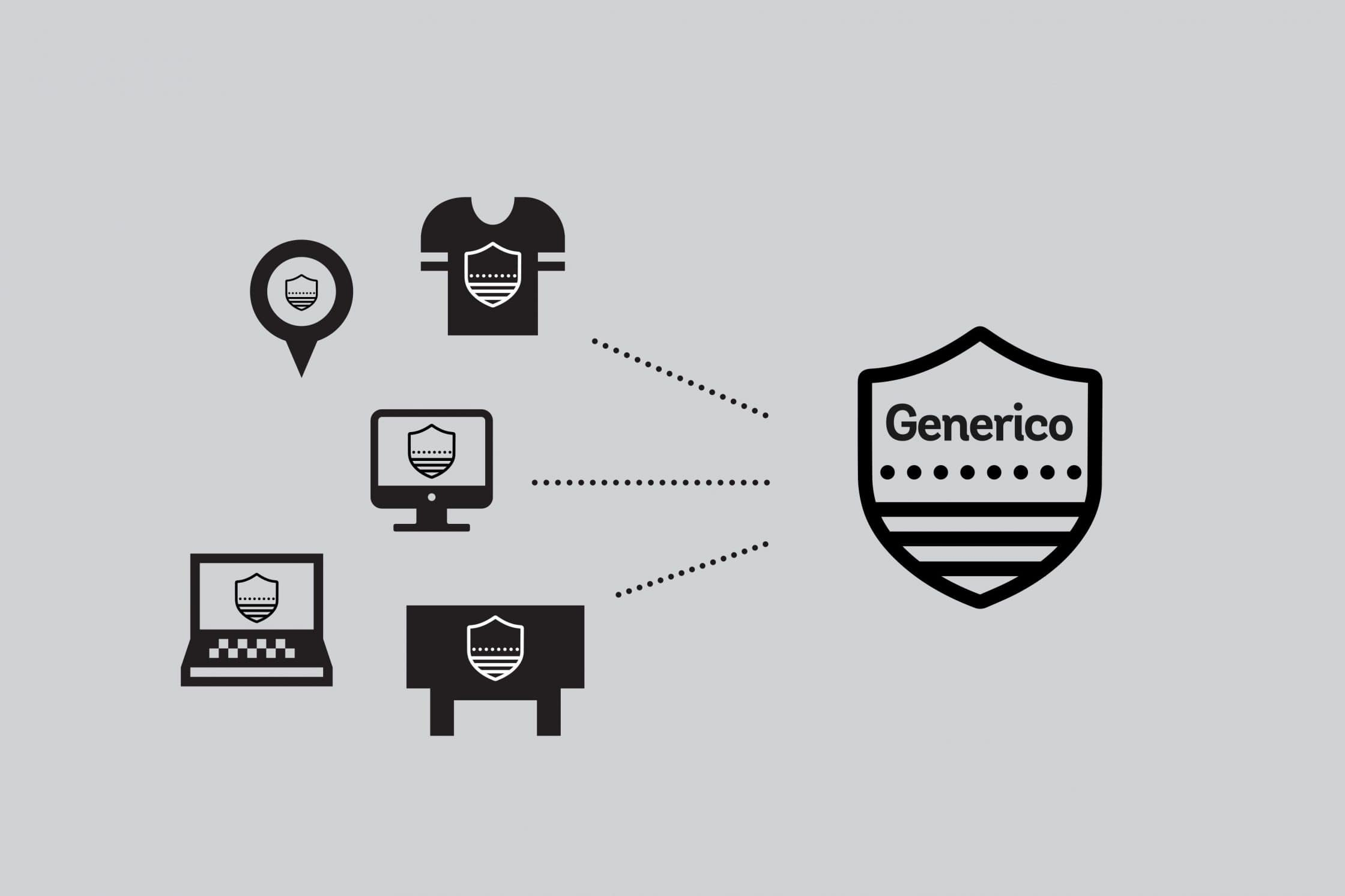 Testing the Generico logo on several object and devices.