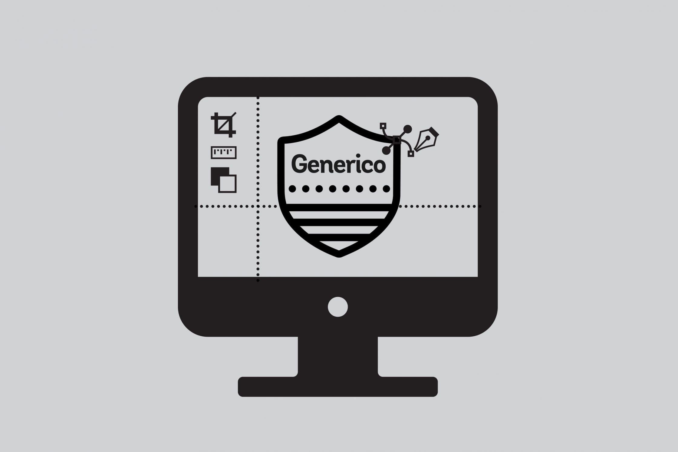 Generico logo in an image editor on computer screen.