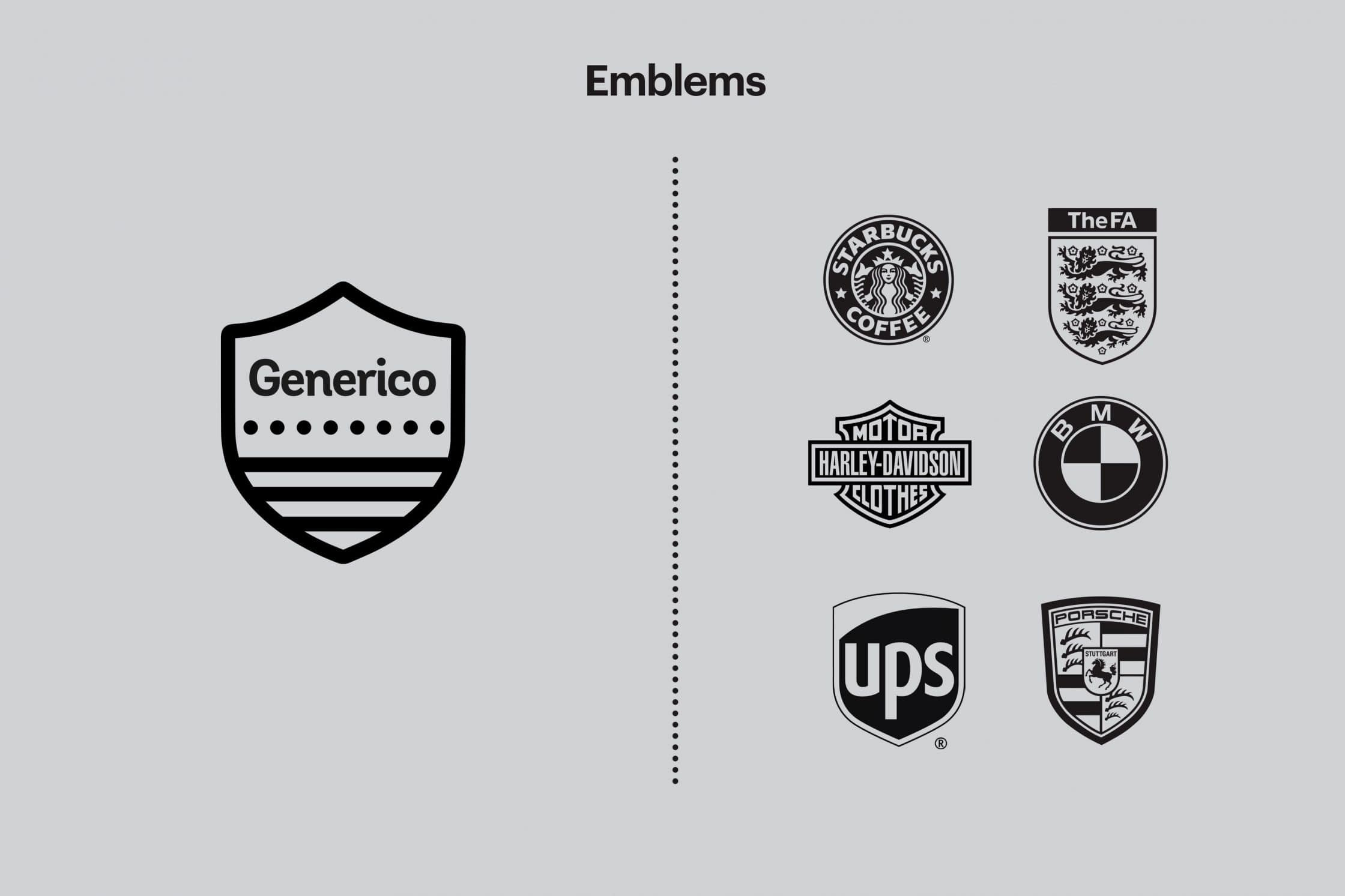 Example of emblems used by Generico and known brands.